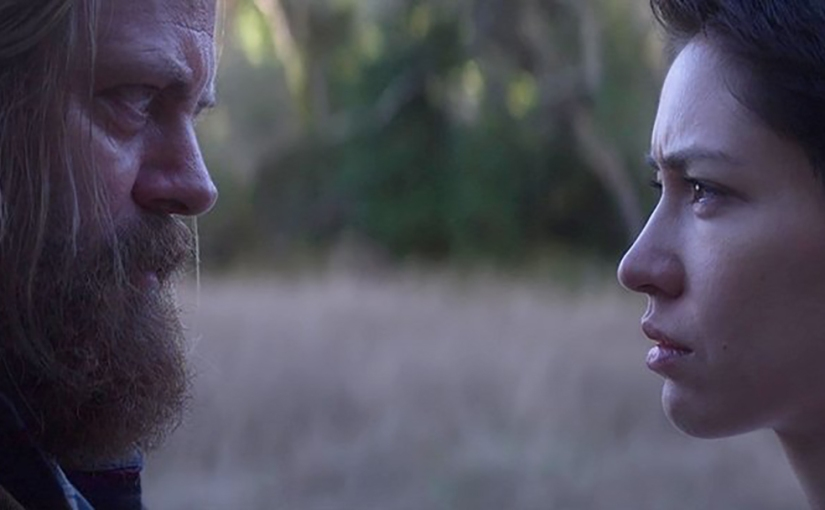 Nick Offerman as Forest and Sonoya Mizuno as Lily in Devs